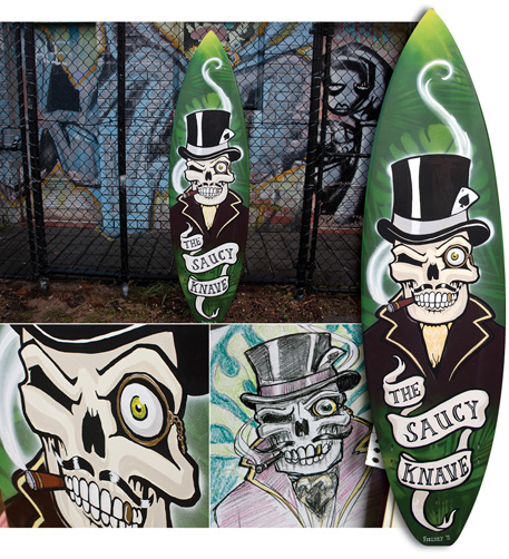 The Saucy Knave - Custom painted surfboard