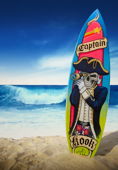 Captain Kook surf board art