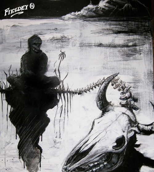 Man and cow skull painting