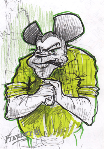 Mickey Mouse thug drawing