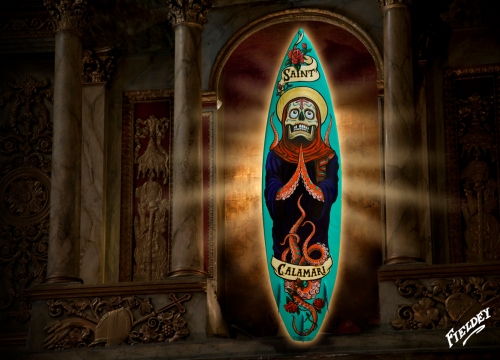 Saint Calamari traditional tattoo style painted surfboard