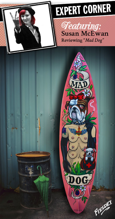 surfboard painted with old school tattoo lady bulldog head