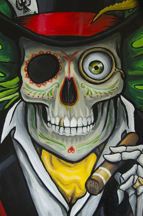 Dia de los Muertos skull with top hat and cravat