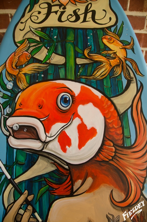 Koi Fish Face painted in old school tattoo style