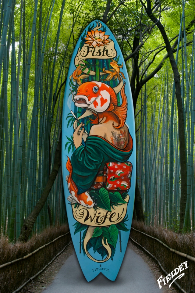Koi Fish lady with sushi painted on surfboard