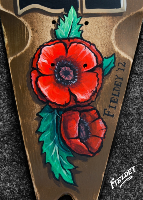 Opium poppies on skateboard