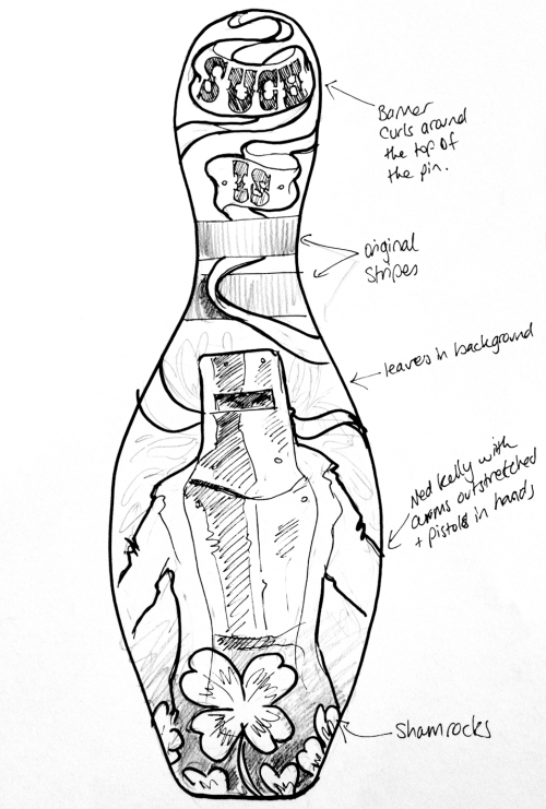 Concept drawing for Ned Kelly bowling pin