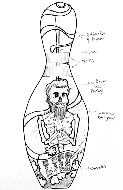 Concept drawing for Ned Kelly skeleton bowling pin