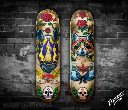 Rhino and Raccoon Spirit animal custom painted skateboard decks