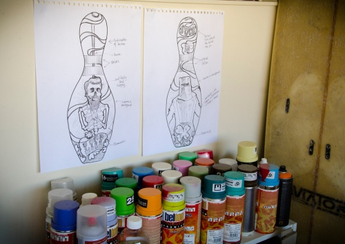 Workspace with Molotow Belton cans
