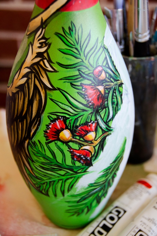 Custom painted bowling pin in progress