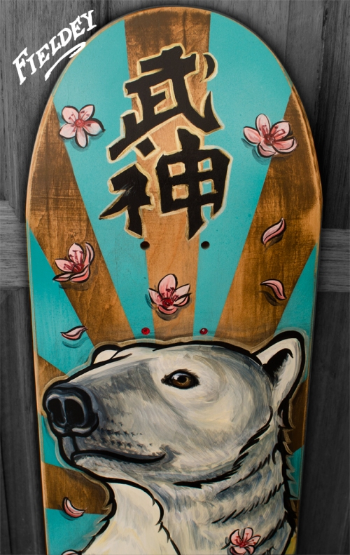Sensei Polar bear custom painted skateboard
