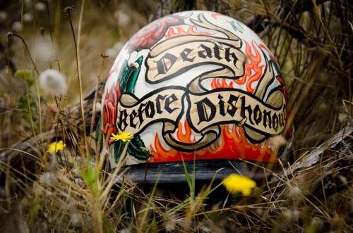 custom painted surf helmet  Death before Dishonour
