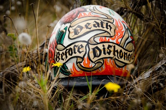custom painted surf helmet  Death before Dishonour