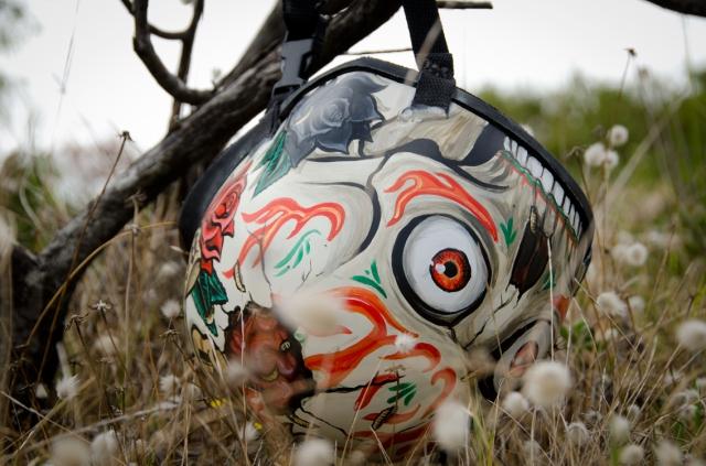 Custom painted surf helmet with skull