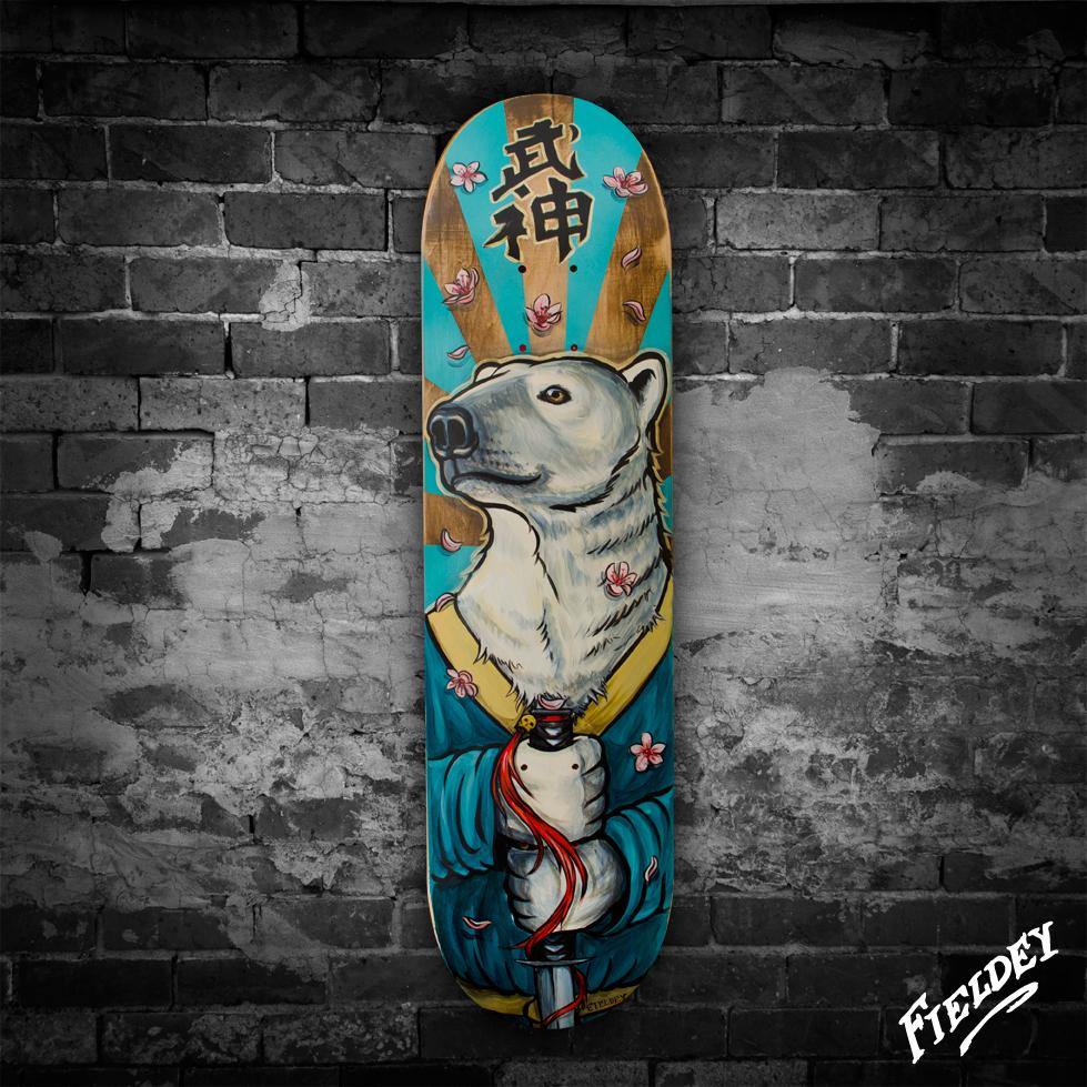 Polar bear custom painted skateboard for Best paint for skateboard decks