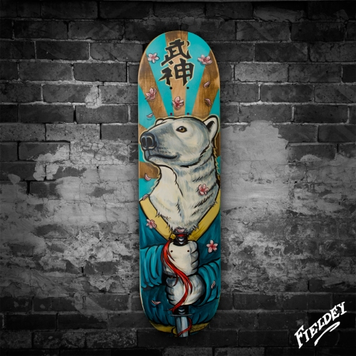 Polar bear custom painted skateboard