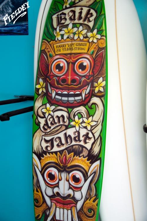 Good and Evil custom surfboard Bali style