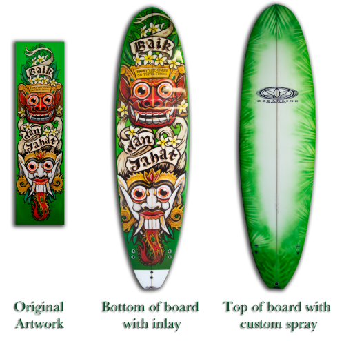 Custom painted surfboard and artwork