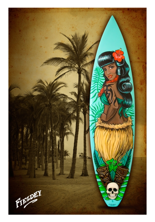 Retro hawaiian pin-up girl on a surfboard