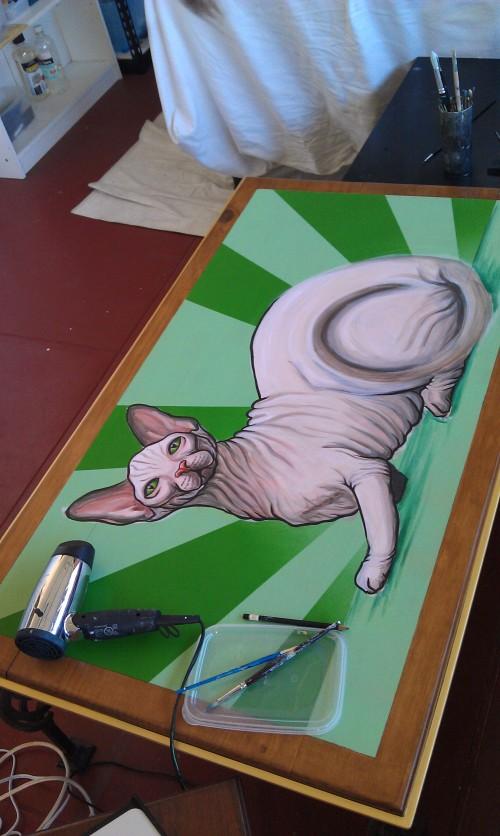 Hairless Tattooed cat