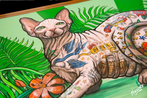 Old school tattoo style cat