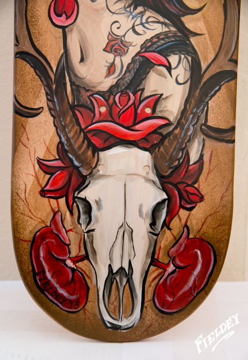 Deer Skull on skateboard