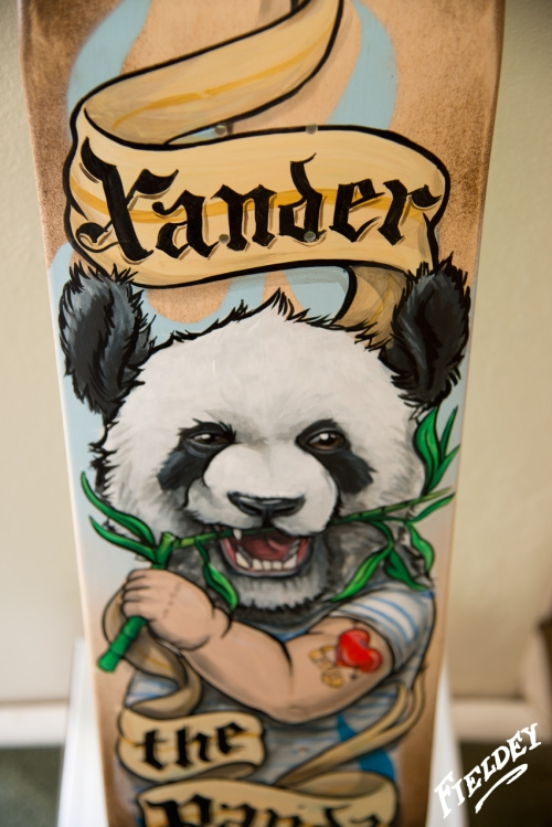 Panda bear skate board custom paint job