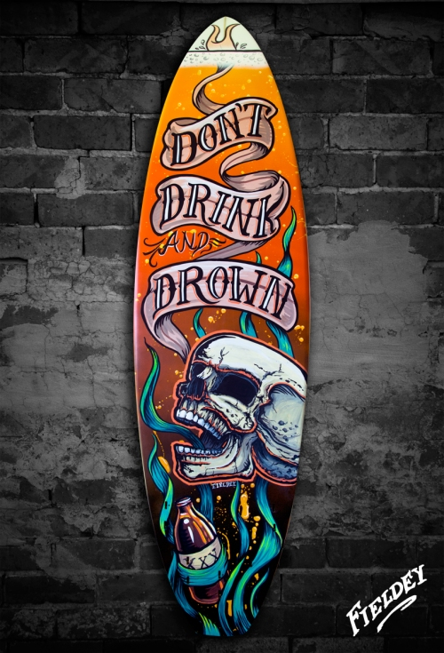 screaming skull old school tattoo style surfboard