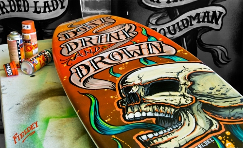 Screaming skull surfboard art