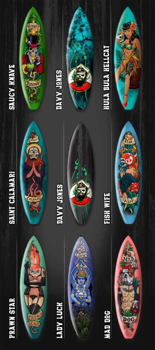 Kustom surfboard graphics