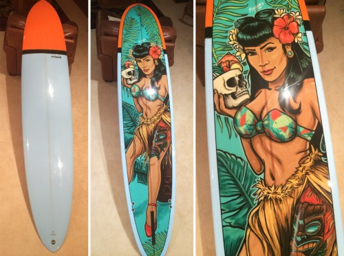 McTavish 9'1 mal surfboard with custom Fieldey inlay