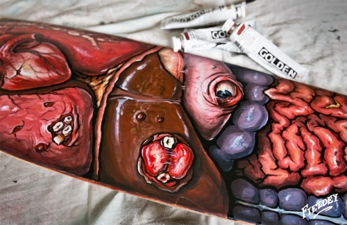 Detail shot of teratoma tumors on a skate deck