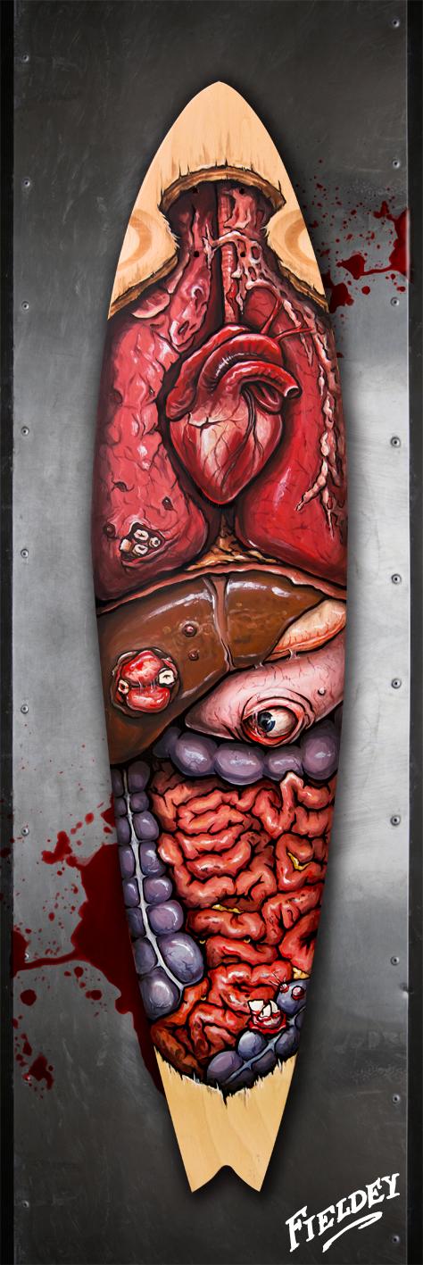 Organs painted on a longboard skate deck