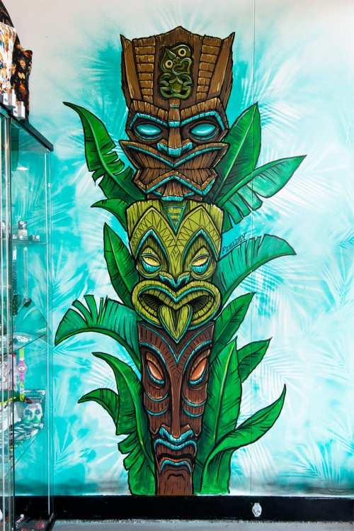 Retro Tiki Totem mural in William St, Northbridge Perth