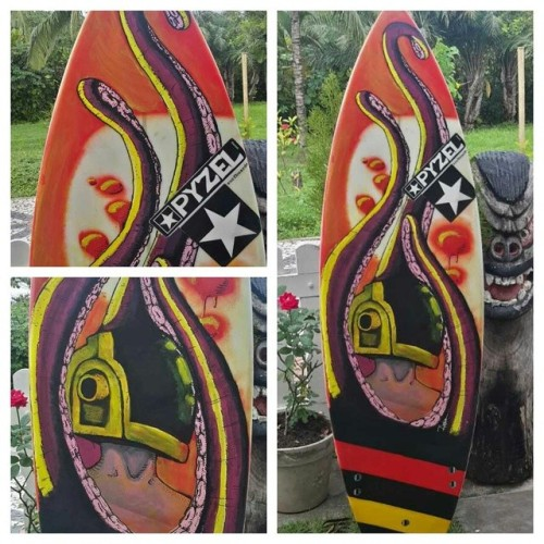 Surfboard art by Flavio Barral in Brazil