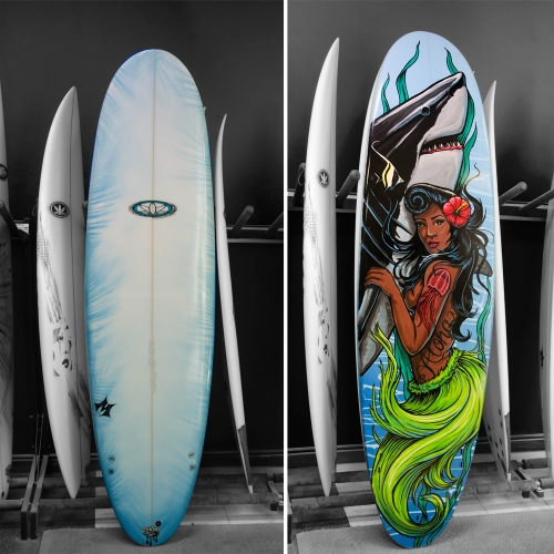 Finished commission surfboard artwork
