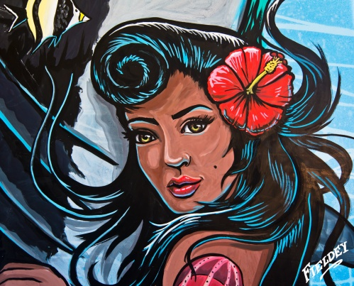 Hawaiian pinup girl face