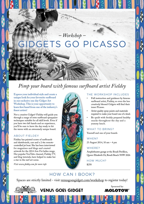 Gidgets Go Picasso - surfboard painting workshop in Bondi