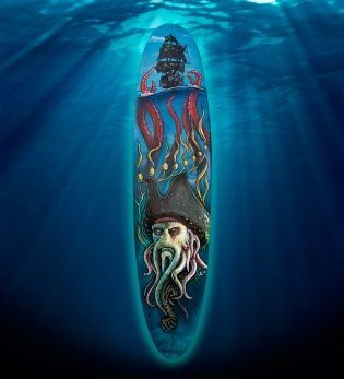 Davy Jones themed surfboard painting