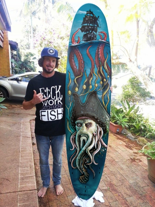 Davy Jones Pirates of the Caribbean themed surfboard painting