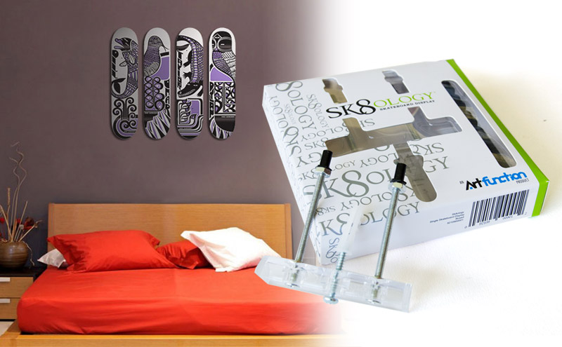 using sk8ology skateboard hangers to hang a skate deck