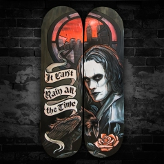 Brandon Lee from The Crow themed skateboard art