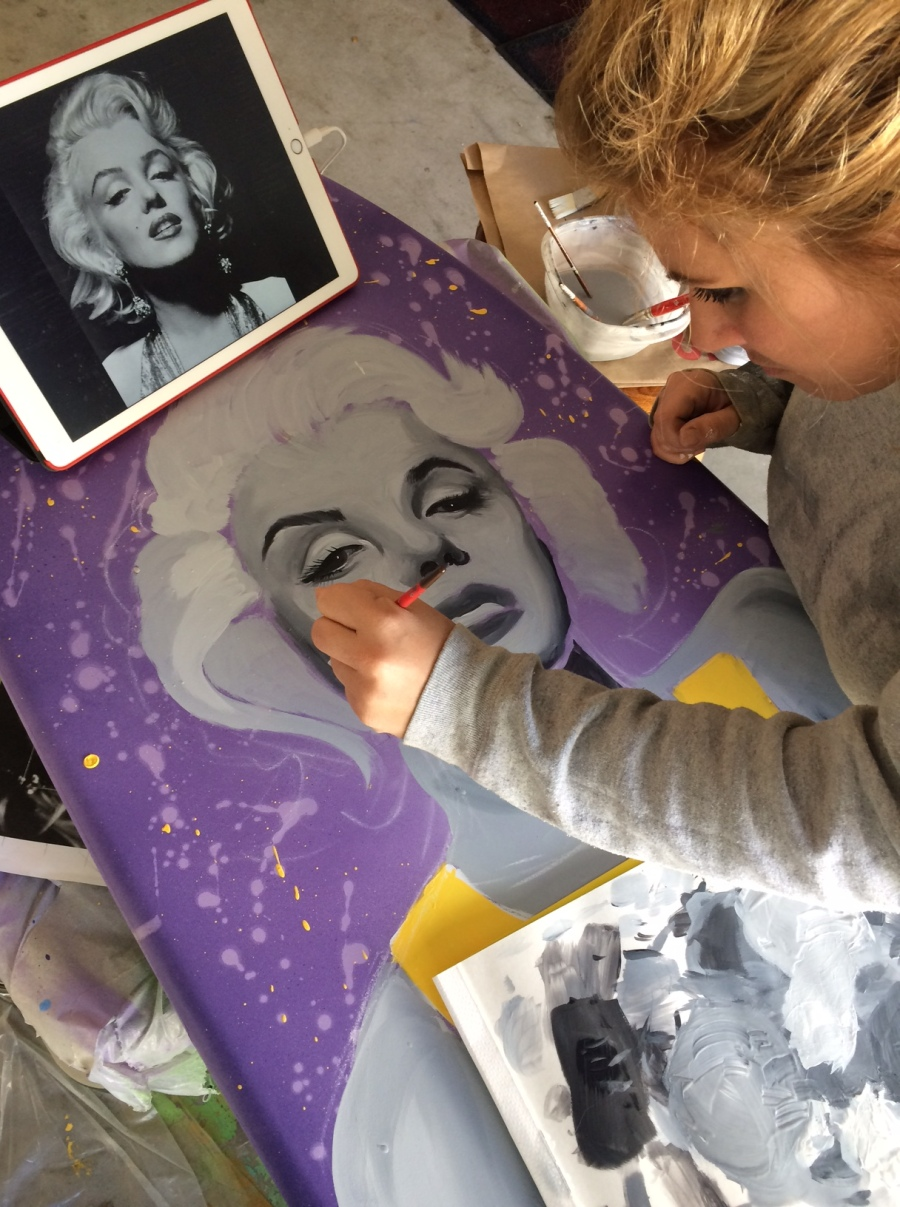 Marilyn Monroe painted surfboard art